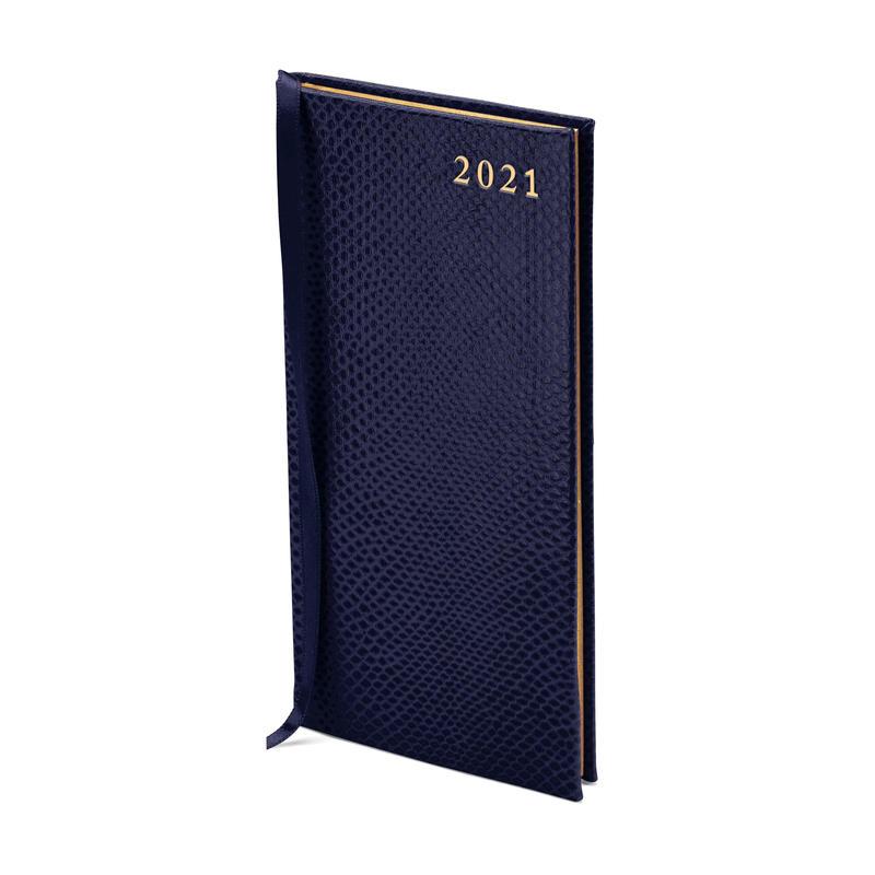 Slim Pocket Leather Diary in Midnight Blue Lizard