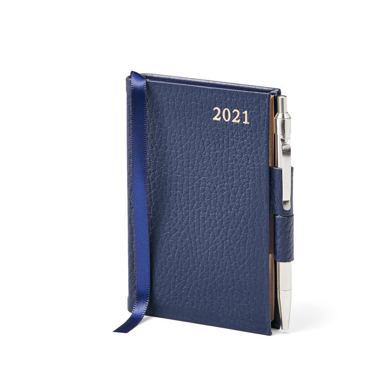 Mini Pocket Leather Diary with Pen in Navy Pebble
