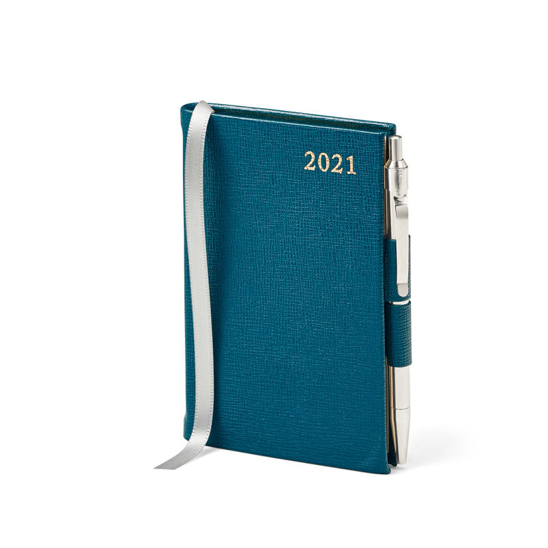Mini Pocket Leather Diary with Pen in Pewter Blue Saffiano