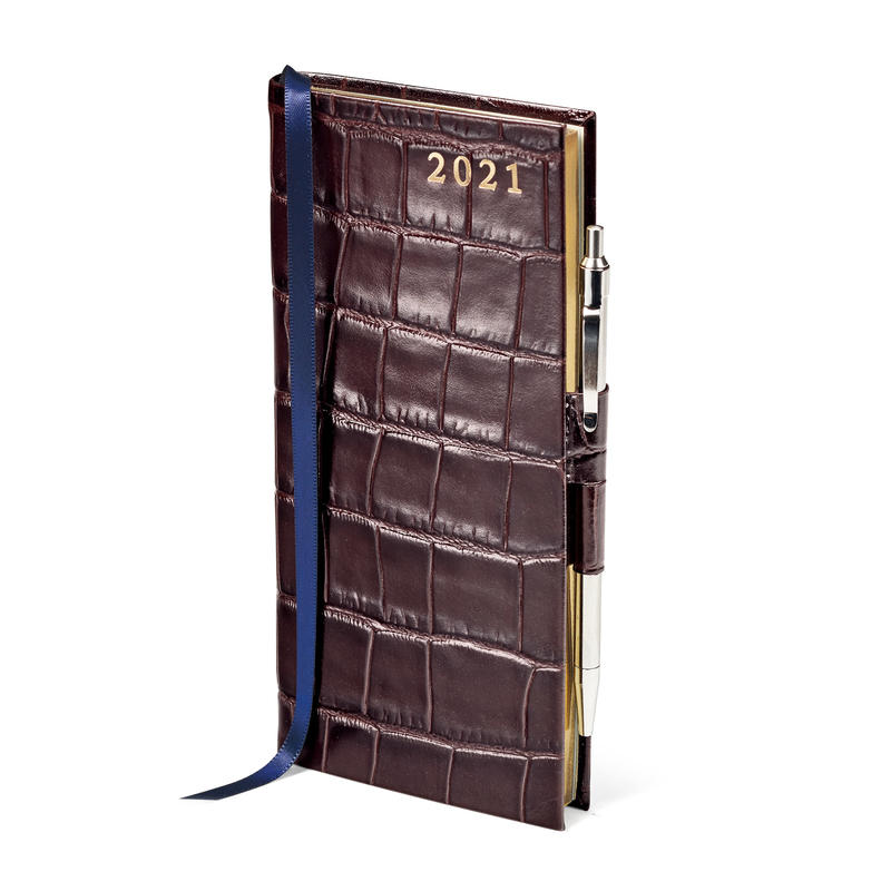 Slim Pocket Leather Diary with Pen in Deep Shine Amazon Brown Croc