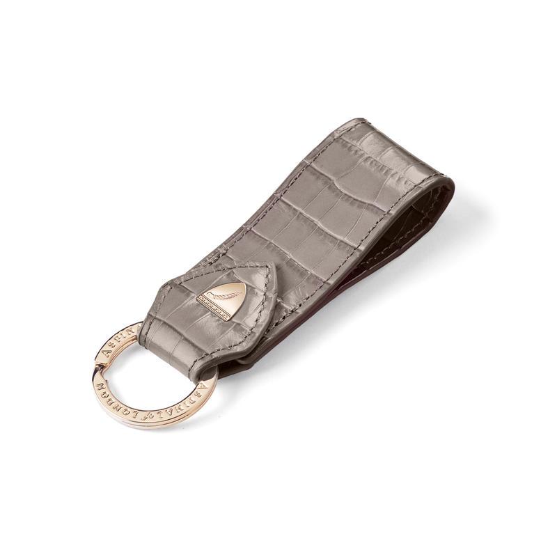 Small Leather Loop Keyring in Deep Shine Warm Grey Small Croc