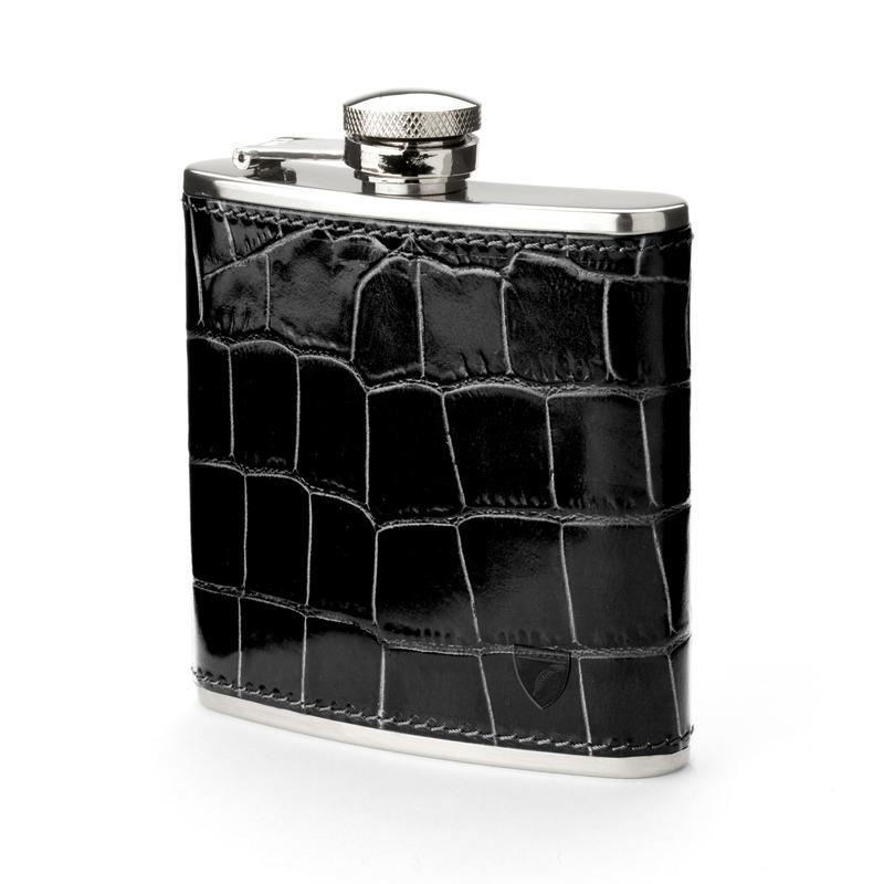 Classic 5oz Leather Hip Flask in Deep Shine Black Croc