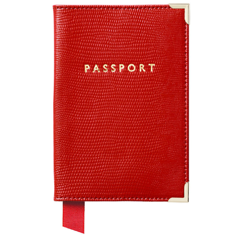 Passport Cover in Scarlet Silk Lizard