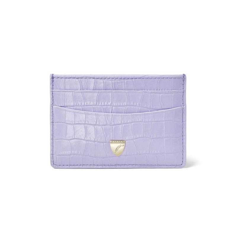 Slim Credit Card Holder in Deep Shine English Lavender Small Croc