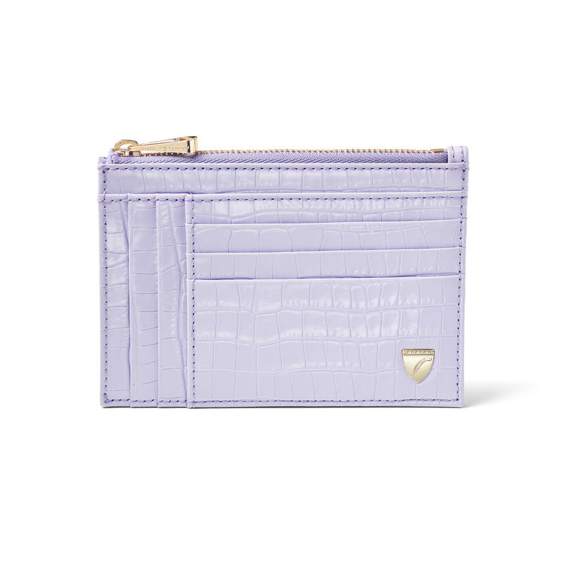 Double Sided Zipped Card & Coin Holder in Deep Shine English Lavender Small Croc