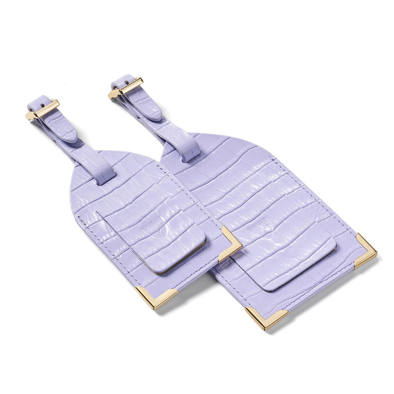 Set of 2 Luggage Tags in Deep Shine English Lavender Small Croc