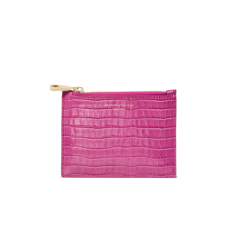 Small Essential Flat Pouch in Deep Shine Hibiscus Small Croc