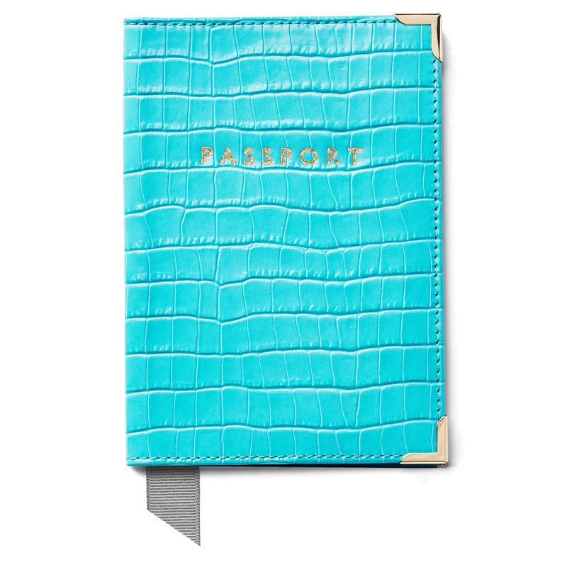 Passport Cover in Deep Shine Aqua Small Croc