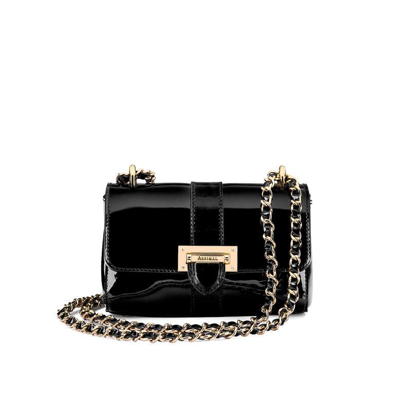 Micro Lottie Bag in Black Patent