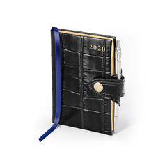 Mini Pocket Leather Diary with Pen in Deep Shine Black Croc