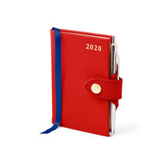 Mini Pocket Leather Diary with Pen in Scarlet Saffiano