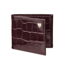 Double Billfold Coin Wallet in Deep Shine Amazon Brown Croc