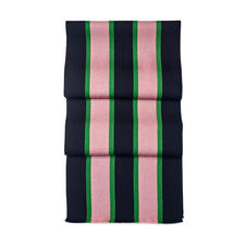 College Stripes Merino Wool Scarf in Midnight Blue, Pink & Green