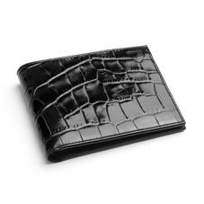 8 Card Billfold Wallet in Deep Shine Black Croc & Cobalt Suede