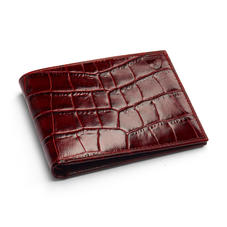 8 Card Billfold Wallet in Deep Shine Amazon Brown Croc & Stone Suede