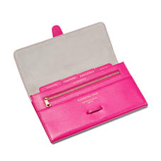 Classic Travel Wallet in Penelope Pink Silk Lizard