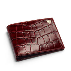8 Card Double Billfold Wallet in Deep Shine Amazon Brown Croc