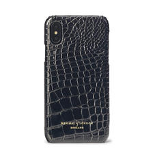 iPhone Xs Case in Black Patent Croc