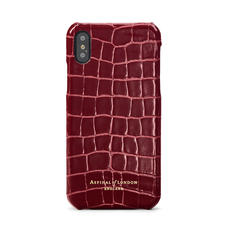 iPhone Xs Case in Bordeaux Patent Croc