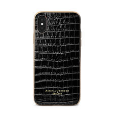 iPhone Xs Case with Gold Edge in Black Patent Croc