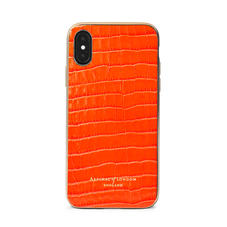 iPhone Xs Case with Gold Edge in Deep Shine Orange Small Croc