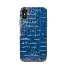 iPhone Xs Case with Gold Edge in Deep Shine Blue Small Croc