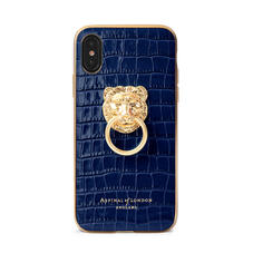 Lion iPhone Xs Case in Deep Shine Midnight Blue Small Croc