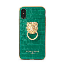 Lion iPhone Xs Case in Deep Shine Emerald Green Small Croc