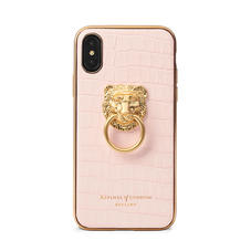 Lion iPhone Xs Case in Deep Shine Shell Pink Small Croc