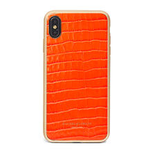 iPhone Xs Max Case with Gold Edge in Deep Shine Orange Small Croc