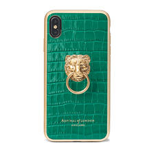Lion iPhone Xs Max Case in Deep Shine Emerald Green Small Croc