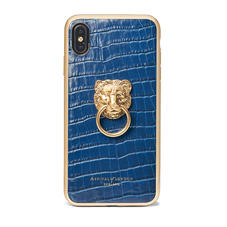 Lion iPhone Xs Max Case in Deep Shine Blue Small Croc