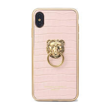 Lion iPhone Xs Max Case in Deep Shine Shell Pink Small Croc