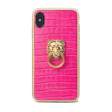 Lion iPhone Xs Max Case in Deep Shine Penelope Pink Small Croc