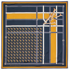 Alphabet 'A' Silk Scarf in Navy & Mustard