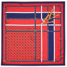 Alphabet 'A' Silk Scarf in Red & Navy