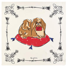 Pekingese Dog Pure Silk Scarf in Ivory Saffiano
