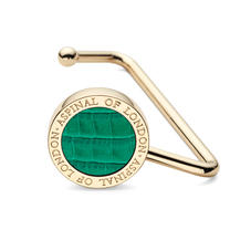 Aspinal Handbag Hook in Deep Shine Emerald Green Small Croc