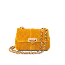 Micro Lottie Bag in Mustard Quilted Velvet