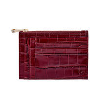 Double Sided Zipped Card & Coin Holder in Deep Shine Bordeaux Croc