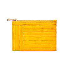 Double Sided Zipped Card & Coin Holder in Deep Shine Bright Mustard Small Croc