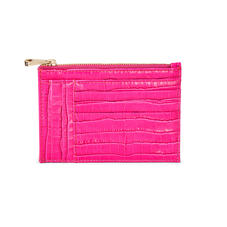 Double Sided Zipped Card & Coin Holder in Deep Shine Penelope Pink Small Croc
