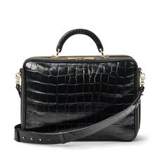 London Document Case in Deep Shine Black Soft Croc