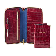 Zipped Travel Wallet with Passport Cover in Deep Shine Bordeaux Croc