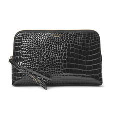 Large Essential Cosmetic Case in Black Patent Croc