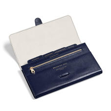 Classic Travel Wallet in Midnight Blue Silk Lizard