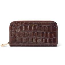 Continental Clutch Zip Wallet in Deep Shine Amazon Brown Croc