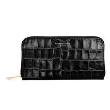 Continental Clutch Zip Wallet in Deep Shine Black Croc