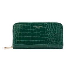 Continental Clutch Zip Wallet in Evergreen Patent Croc