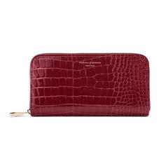 Continental Clutch Zip Wallet in Bordeaux Patent Croc